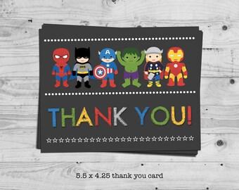 Superhero thank you card - digital / printable