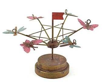 20% Off Storewide Fairy Tilt-a-Whirl for your Miniature Garden and Summer Decor, Metal Carnival Accessory in Red, Pink, Blue, and Gold