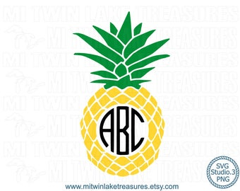 Classic Pineapple Monogram SVG, Instant & Digital Download, For Silhouette and Cricut, PNG, Studio.3, DIY, Personal and Commercial Use 006