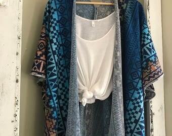 Aztec sweater kimono