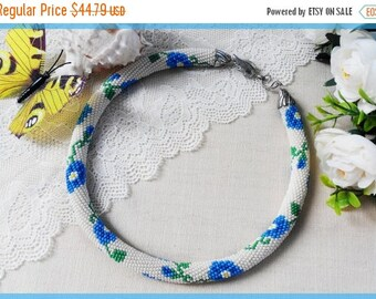 Blue flower necklace Summer outdoors Gift for mother Woman beaded necklace Delicate crochet necklace Statement beige jewelry gift for sister