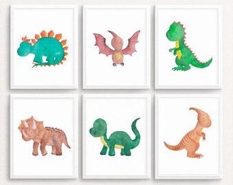 Dinosaur wall art, SET OF 6, Dinosaur Print Dinosaur printable  Dinosaur Prints Watercolor Dinosaur decor Baby Boy Nursery A4 11X14 DOWNLOAD