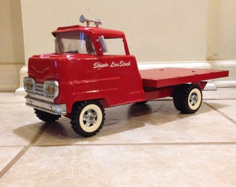 Vintage Structo 1950's cab forward flat bed/stake bed/ pressed steel childrens toy truck / original paint toy truck