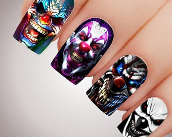 HORROR CLOWNS - Scary Halloween Creepy Clown Full Nail Decal Water Transfer Tattoo #5204