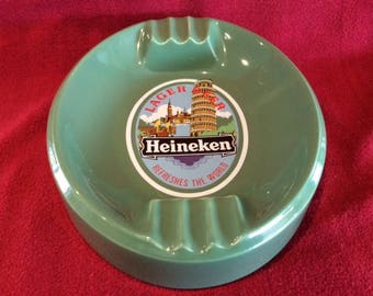 "Heineken Larger Beer ""Refreshes The World"" Oval Porcelain Ashtray"
