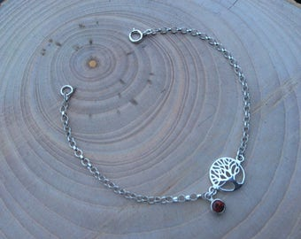 Tree of life bracelet, January birthstone, real dark red garnet bezel set charm, Sterling Silver rolo chain, Inspirational gift