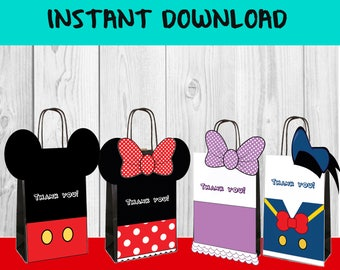 4 COVER BAGS - MICKEy Mouse, Minnie, Daisy and Donald- Birthday - Digital download - DiY