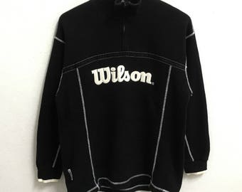 RARE!!! Wilson Big Logo Embroidery Half Zipper Black Colour Sweatshirts Hip Hop Swag M Size