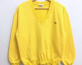 RARE!!! Jack Nicklaus Sport Wear Golden Bear Small Logo Embroidery V-Neck Yellow Colour Sweatshirts Hip Hop Swag L Fit S Size
