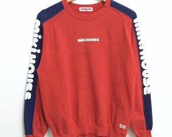 RARE!!! MIKI HOUSE Big Logo SpellOut Crew Neck Red Colour Sweatshirts Hip Hop Swag M Size
