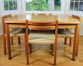 Danish Modern Extadable Draw Leaf Teak Dining Table And Four J L Moller  Rope Cord Teak Chairs