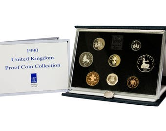 1990 Royal Mint Proof Coin Year Set Complete with Certificate