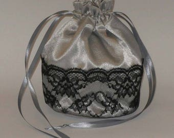 Silver Grey Satin & Half Lace Dolly Bag Evening Handbag / Purse For Wedding /Bridesmaid/ Prom Drawstring Gray
