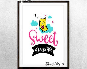 Sweet Dreams Owl art Digital Download 8x10