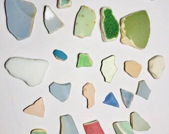 Sea Pottery Mix of 30 Pastel Colours