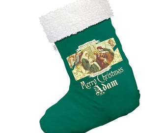 Merry Christmas Nativity Personalised Large White Santa Claus Christmas Stockings With White Fur Trim