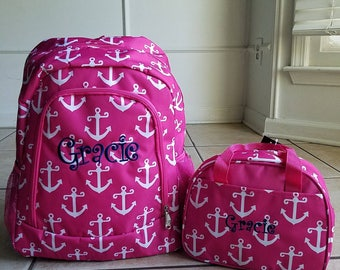 Hot Pink Anchor Backpack and Lunch bag set