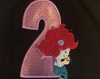 Little Mermaid Ariel Inspirered Birthday Shirt