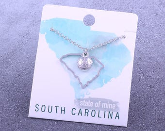 Customizable! State of Mine: South Carolina Soccer Silver Necklace - Great Soccer Gift!