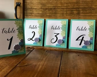 Succulent Table Numbers // Succulent Wedding // Wedding Table Numbers