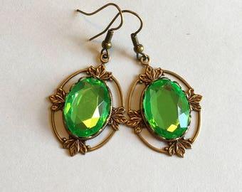 Bronze Renaissance earrings, green renaissance earrings, renaissance jewelry, bronze renaissance jewelry, green renaissance jewelry