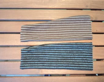 Turquoise and khaki stripes headbands. Buy two. Stretchy headbands. Hair accessories for girl or woman.