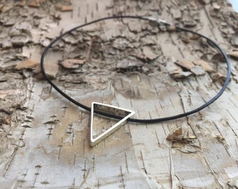 Leather choker, Sacred geometry, Geometric necklace, triangle pendant, pyramid necklace, vesica piscis jewelry, spiritual pendant