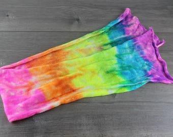 Neon rainbow sock blank with silver stellina