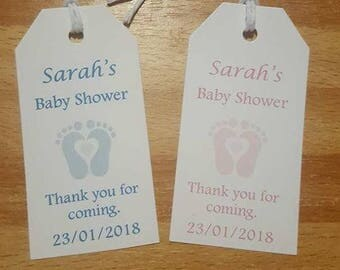 Baby shower tags feet design