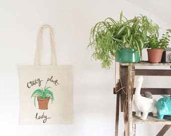 Crazy Plant Lady Hand Painted 100% Organic Cotton Tote Bag - Bags for Plant Hauls - Plant Shopping Bag - Spider Plant Tote Bag - Plant Totes