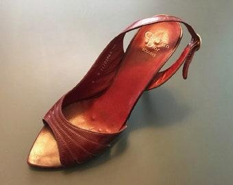 Vintage 70's / 80's Women's Shoes Christian Dior Souliers Designer Heels Burgundy Leather 7.5