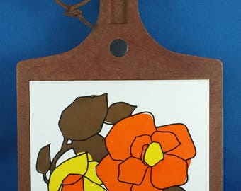 Vintage Cheese Board Wood & Ceramic Tile Flowers, Hot Plate, Wall Hanging