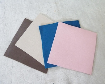 set of 4 square fine leather, lambskin leather is smooth for creation