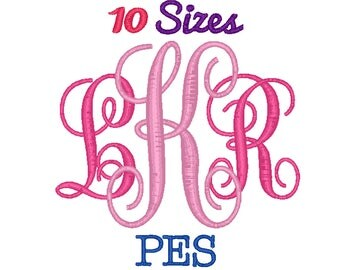 Vine Interlocking Font Monogram Embroidery Font Machine Embroidery Fonts PES Format File Pack Set 10 Sizes Digital Design Instant Download