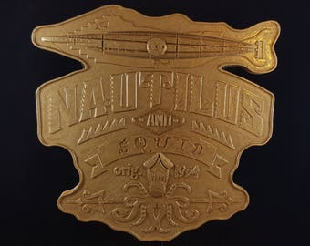 20,000 Leagues Under The Sea Ride Inspired Sign / Plaque - Hammered Gold Coloring