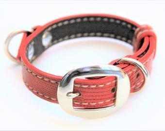 Dog Collar Genuine Lizard Red/Cream