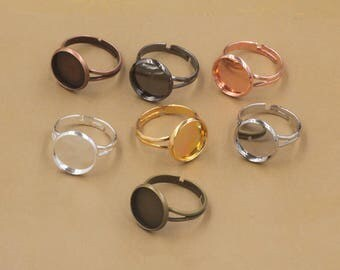 50pcs 14mm Ring Blanks Ring Bezels Cabochon Settings Fits 14mm