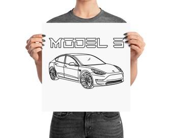 Tesla Motors Model 3 Electric Car Wall Art Poster