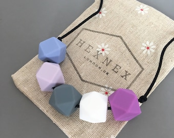 Teething Necklace for Mum Silicone Hexagon Bead BPA Free Baby Shower Gift Chewelry Breastfeeding Nursing Fiddle Aid Purple Grey White