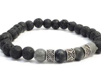 Mens Gemstone Bracelet Black Lava Obsidian Bracelet Essential Oil Diffuser