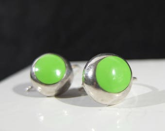 Vintage Taxco Mexican Sterling Silver Earrings With Green Stones