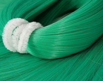 Etsy Celebration Sale Jaded Green Jade Bright Nylon Doll Hair Hank for Rerooting Barbie® Monster High® Ever After High® My Little Pony Fashi