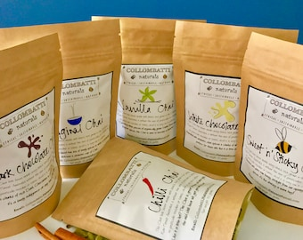 Chai Variety 6 Pack - Collombatti Naturals - Australian Black Tea - Birthday, Christmas, Mother's or Father's Day gift