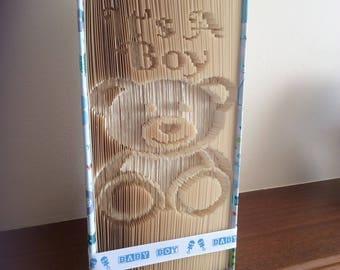 Handmade Folded Book Art, It's A Boy.