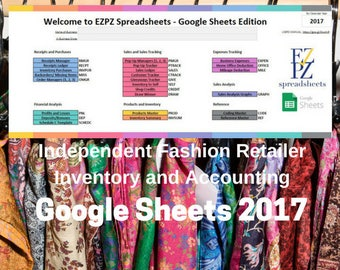 2017 Google Sheets Version - Inventory and Accounting for Independent Fashion Retailers