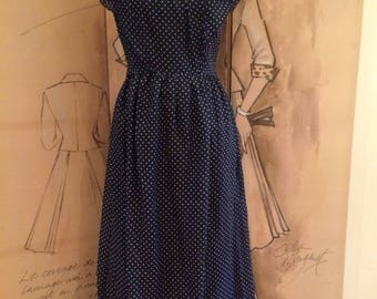70's vintage full length dress dark blue white polka dots- Floaty style- Cape look- Special Occasion- size 8-10