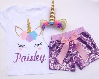 Unicorn shirt, sequin shorts, headband set, personalized, birthday shirt, unicorn birthday outfit, sequin outfit, 2nd birthday, 5th birthday