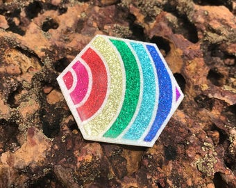 "Brooch ""Rainbow Hexagon"""