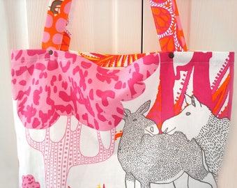 Beach Bag, Large Tote Bag, Bright Summer Tote, Pink Bag, Orange Bag, Holdall, Shoulder Bag, Gift for Her, Moose Bag, Fabric Bag, Floral Tote