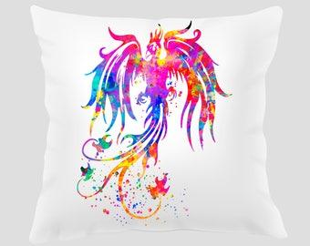 Phoenix Bird 1 Throw Pillow, Pillow Cover, Accent Pillow, Contemporary Decor